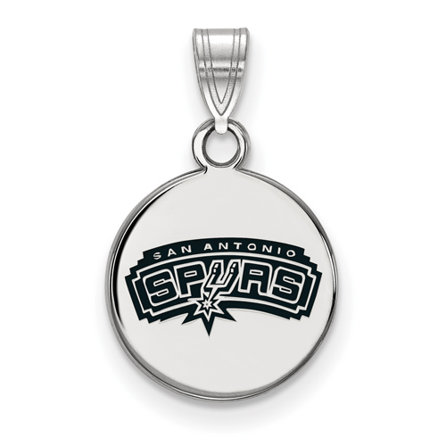 Sterling Silver 1/2in San Antonio Spurs Enamel Pendant on 18in Chain