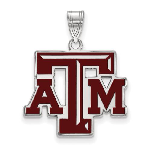 Sterling Silver 3/4in Texas A&M University Enamel Pendant
