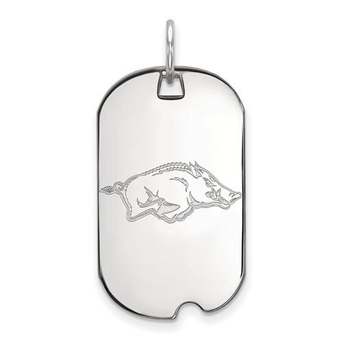 14k White Gold University of Arkansas Small Dog Tag