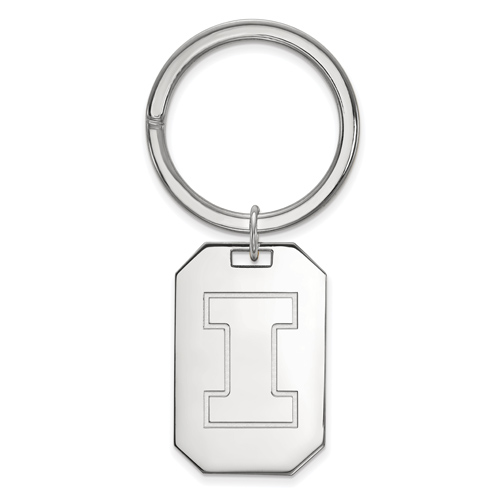Sterling Silver University of Illinois Key Chain