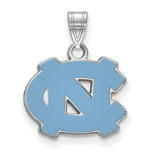 Sterling Silver 1/2in University of North Carolina NC Enamel Pendant