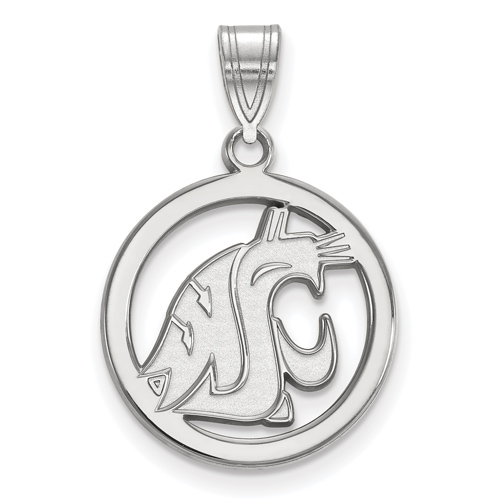 Sterling Silver 5/8in Washington State University Pendant in Circle