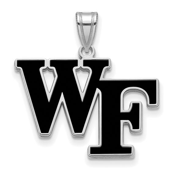 Sterling Silver 3/4in Wake Forest University WF Enamel Pendant
