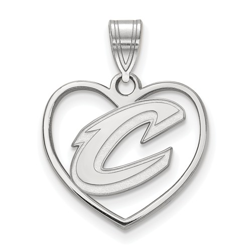 Sterling Silver 5/8in Cleveland Cavaliers Heart Pendant