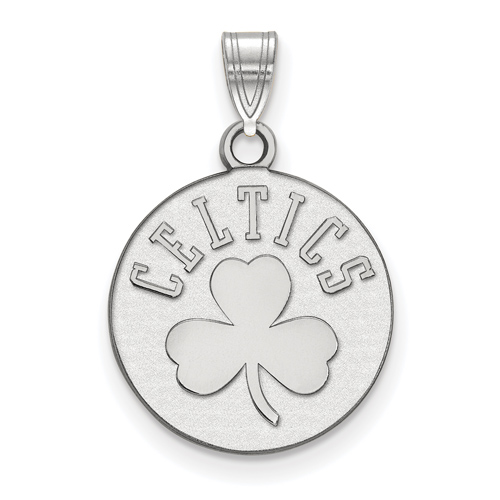 Sterling Silver 5/8in Boston Celtics Clover Pendant
