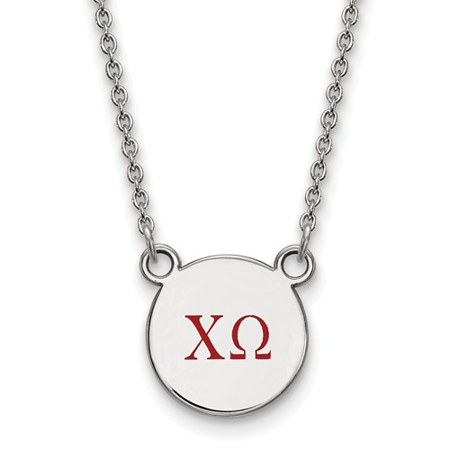 Sterling Silver Chi Omega Disc Pendant with Red Letters Necklace