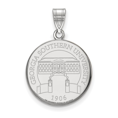 Sterling Silver Georgia Southern University Crest Pendant 3/4in