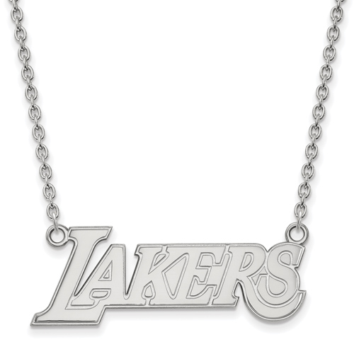 Sterling Silver Los Angeles Lakers Block Pendant on 18in Chain