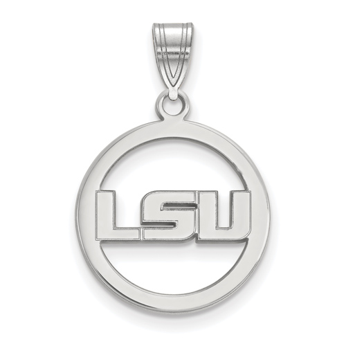 Sterling Silver 5/8in Louisiana State University Pendant in Circle