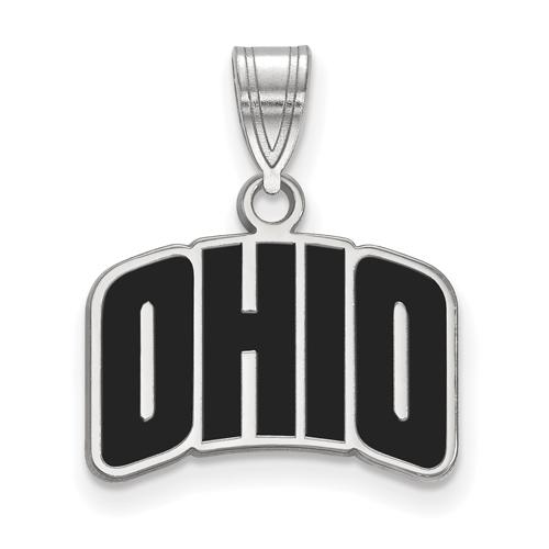 Ohio University Enamel OHIO Pendant 1/2in Sterling Silver