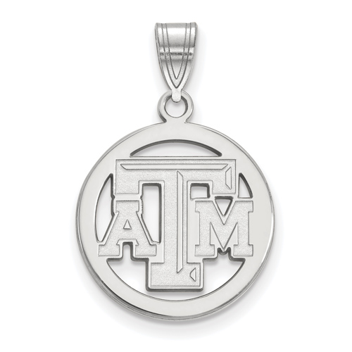 Sterling Silver 5/8in Texas A&M University Pendant in Circle