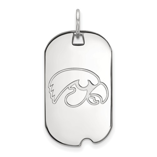 Sterling Silver University of Iowa Small Dog Tag