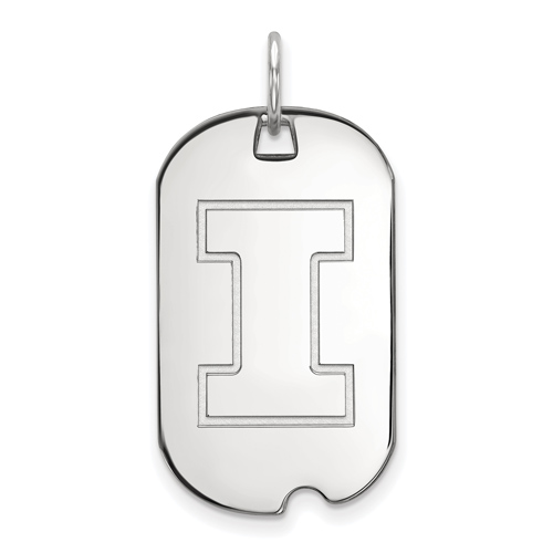 Sterling Silver University of Illinois Small Dog Tag