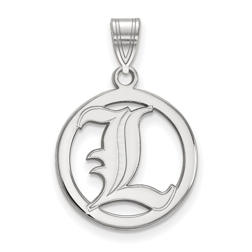 Sterling Silver 5/8in University of Louisville Pendant in Circle