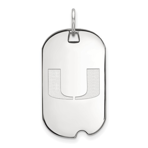 Sterling Silver University of Miami Small Dog Tag