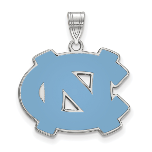 Sterling Silver 3/4in University of North Carolina NC Enamel Pendant