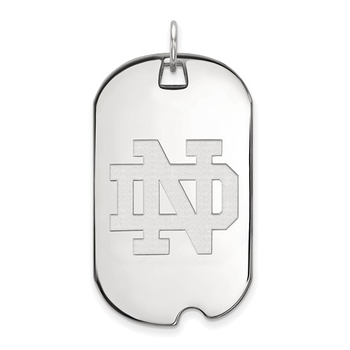 Sterling Silver 1 1/2in University of Notre Dame Dog Tag