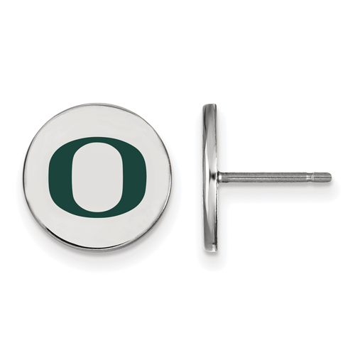 Silver University of Oregon O Small Round Enamel Post Earrings