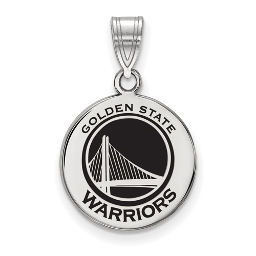 Sterling Silver 5/8in Golden State Warriors Enamel Disc Pendant
