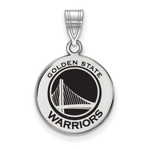 Sterling Silver 5/8in Golden State Warriors Enamel Disc Pendant