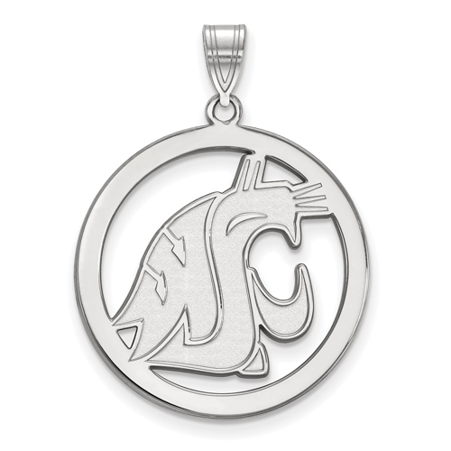Sterling Silver 1in Washington State University Logo Pendant in Circle