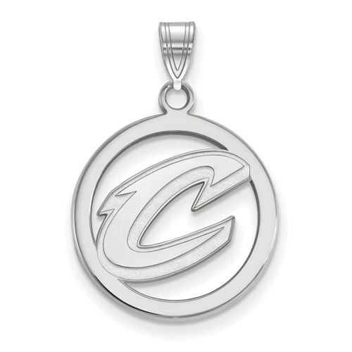 Sterling Silver 5/8in Cleveland Cavaliers Circle Pendant