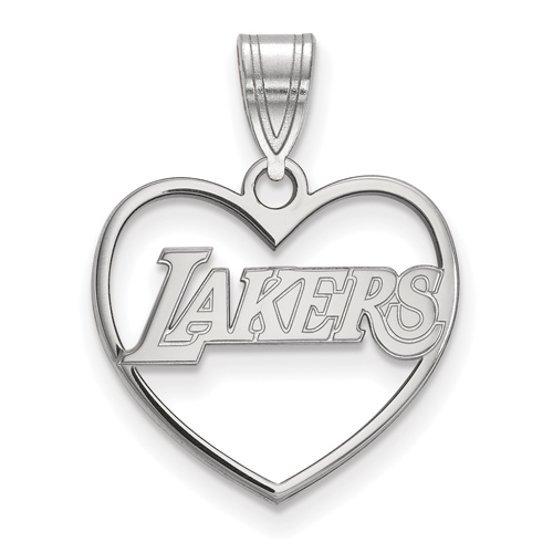 Sterling Silver 5/8in Los Angeles Lakers Heart Pendant
