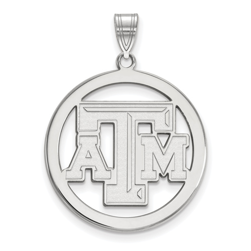 Sterling Silver 1in Texas A&M University Logo Pendant in Circle