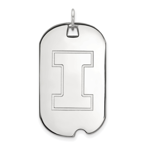 Sterling Silver University of Illinois Dog Tag Pendant