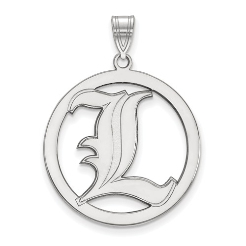 Sterling Silver 1in University of Louisville Logo Pendant in Circle
