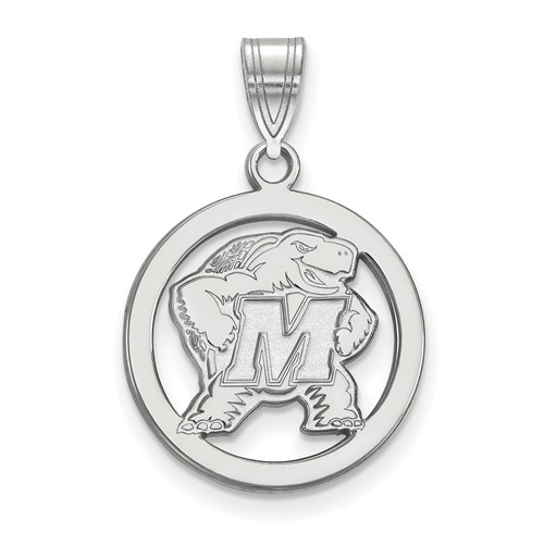 Sterling Silver 5/8in University of Maryland Circle Pendant