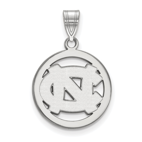 Silver 5/8in University of North Carolina NC Pendant in Circle
