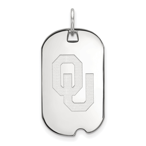 Sterling Silver University of Oklahoma OU Small Dog Tag
