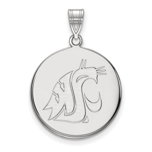 Sterling Silver 3/4in Washington State University  Disc Pendant