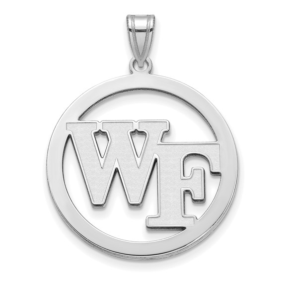 Wake Forest University Circle Pendant 1in Sterling Silver
