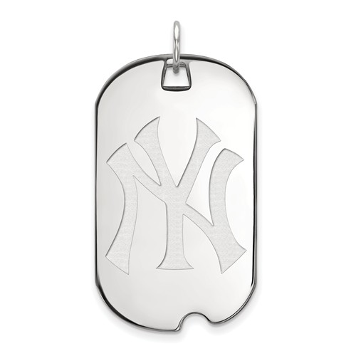 Sterling Silver New York Yankees Large Dog Tag