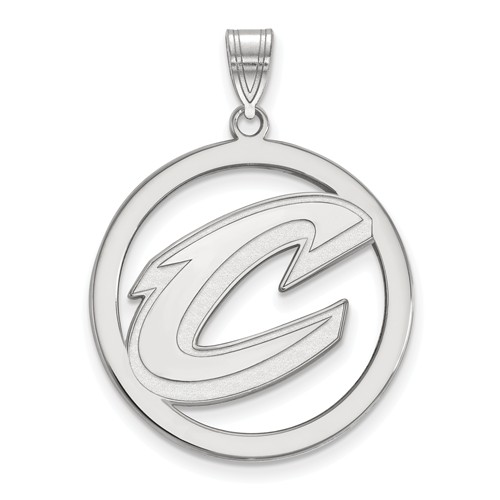 Sterling Silver 1in Cleveland Cavaliers Circle Pendant