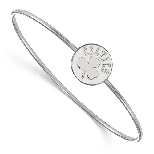 Sterling Silver Boston Celtics Disc Wire Bangle Bracelet