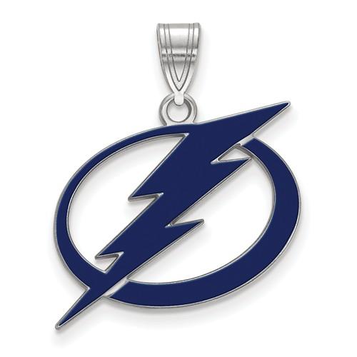 Sterling Silver 3/4in Tampa Bay Lightning Enamel Pendant