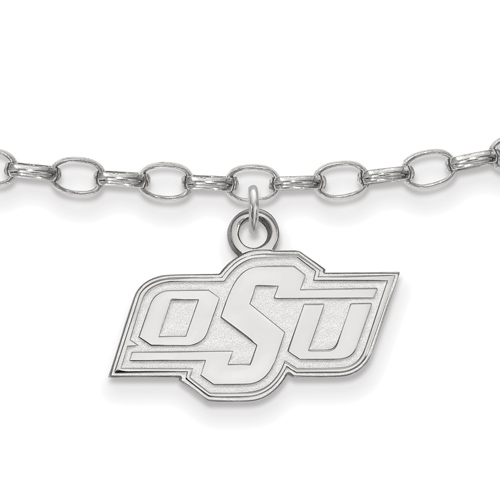 Sterling Silver 9in Oklahoma State University Anklet