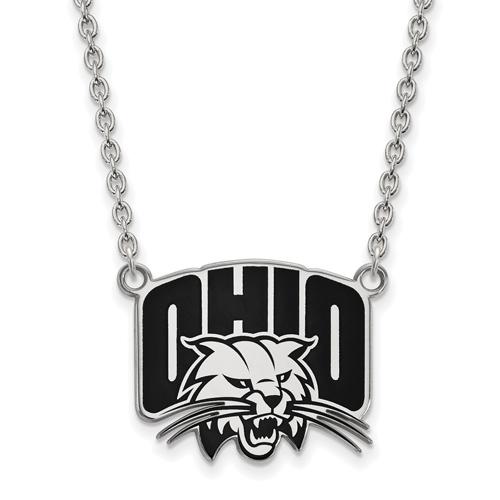 Ohio University Enamel Pendant on 18in Chain Sterling Silver