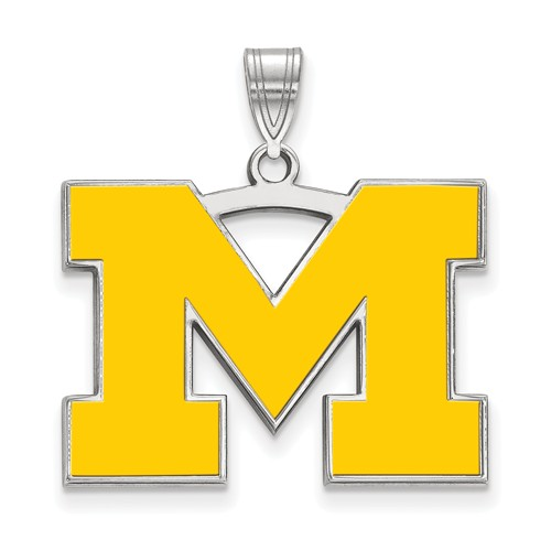 Sterling Silver 3/4in University of Michigan M Yellow Enamel Pendant