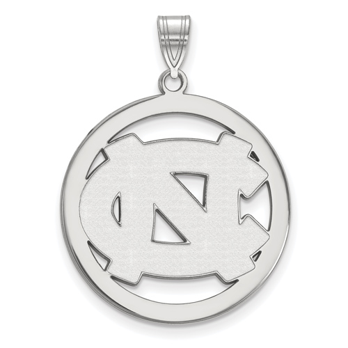 Silver 1in University of North Carolina Logo Pendant in Circle