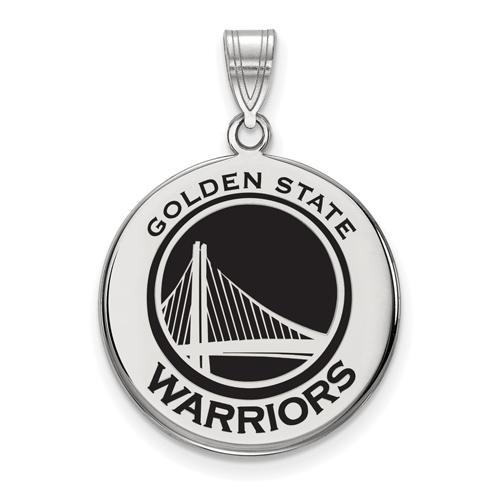 Sterling Silver Golden State Warriors 7/8in Enamel Disc Pendant