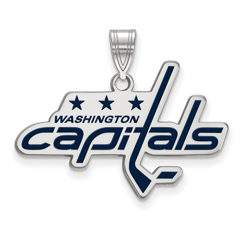 Sterling Silver 3/4in Washington Capitals Enamel Pendant
