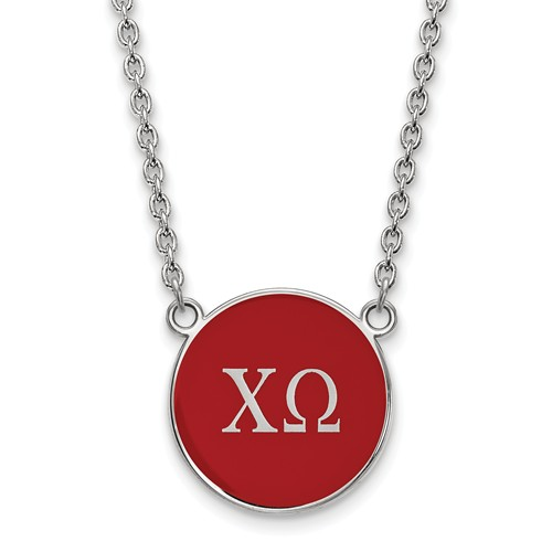 Sterling Silver Chi Omega Red Enamel Disc Necklace