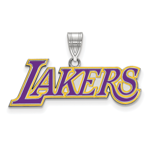Sterling Silver 1/2in Los Angeles Lakers Logo Enamel Pendant
