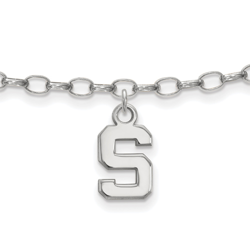 Sterling Silver 9in Michigan State University Anklet