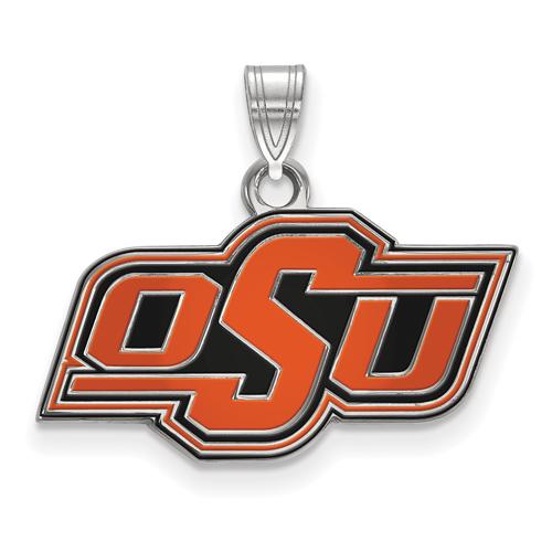 Sterling Silver 1/2in Oklahoma State University OSU Enamel Pendant
