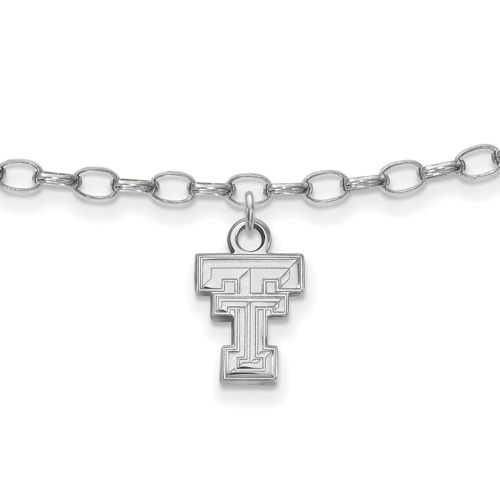 Sterling Silver 9in Texas Tech University Anklet
